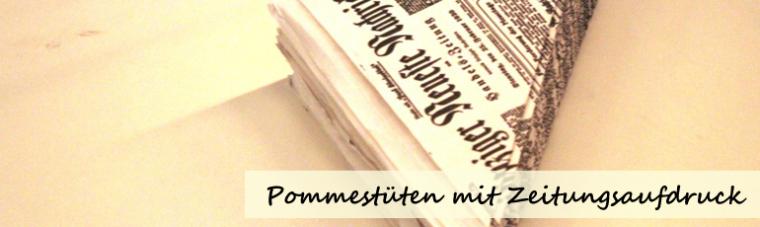 Pommestüten mit Zeitungsaufdruck